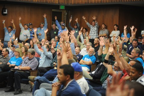 <b>OUT IN FORCE:</b>  A grass-roots organization's speedy efforts to place a fracking ban on the November ballot attracted dozens of critics to this week's Board of Supervisors meeting.