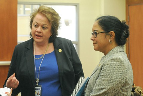 <b>ANOTHER ROUND:</b>  Deputy Chief Probation Officer Tanja Heitman (left) and Chief Probation Officer Beverly Taylor updated the supervisors on prison realignment.