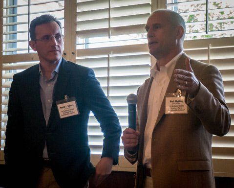 """Patrick Doherty (left) and Mark Mykleby, fellows at the New America Foundation, spoke on building the """"new American dream"""" globally."""