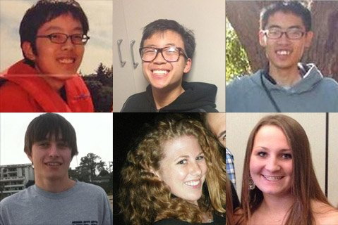 Isla Vista murder victims. Top row from left to right: Weihan Wang, George Chen, Cheng Yuan Hong. Bottom row from left to right: Christopher Michaels-Martinez, Katie Cooper, Veronika Weiss