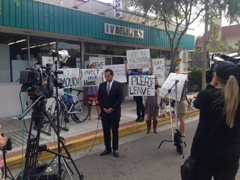 Isla Vista residents on Monday protest the constant presence of TV news crews in the wake of Friday's mass murder