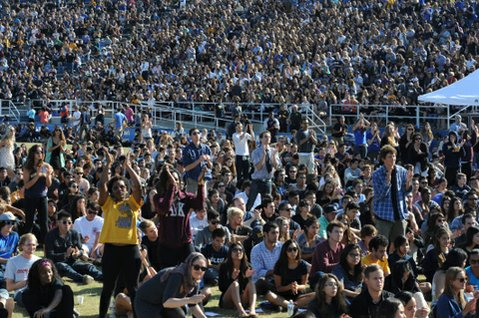 About 20,000 people attended the Isla Vista memorial at UCSB's Harder Stadium on Tuesday.