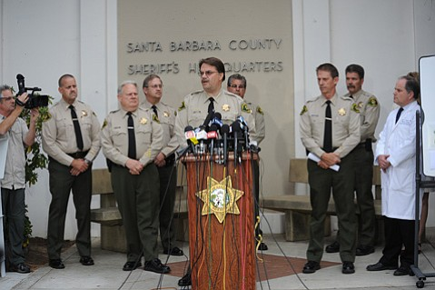<b>AUTHORITIES' AUTHORITY?</b> Sheriff Bill Brown revealed the grisly details of the Isla Vista shooting spree at Saturday's press conference, but questions remain unanswered. Perhaps the most pressing for the future:
