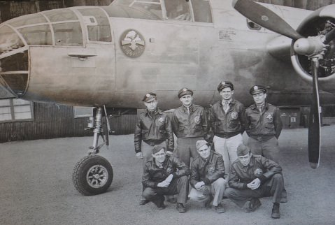 Joe Connell (far right) stands with his aircrew in front of their B-25 on the Azores island of Terceira.