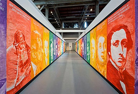 """Mike Kelley's """"Pay For Your Pleasure"""" (1988) installation view."""