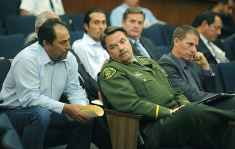 <b>NO GO:</b> Chumash chair Vincent Armenta and Sheriff Bill Brown argued for a deputy sheriff position for the reservation, but three of the five supervisors didn't buy it.