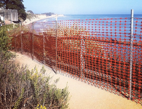 Temporary fencing has been installed along some of Isla Vista's dangerous cliffs