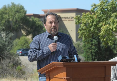 Chumash Tribal Chair Vincent Armenta announces that the Interior Board of Indian Appeals recognizes the 6.9-acre property, across Highway 154 from the casino, as part of the Chumash trust (May 5, 2014).
