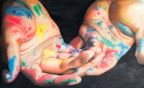Hands by Yuli Salazar. Painting sponsored by the Associated Hand Surgeons of Santa Barbara.