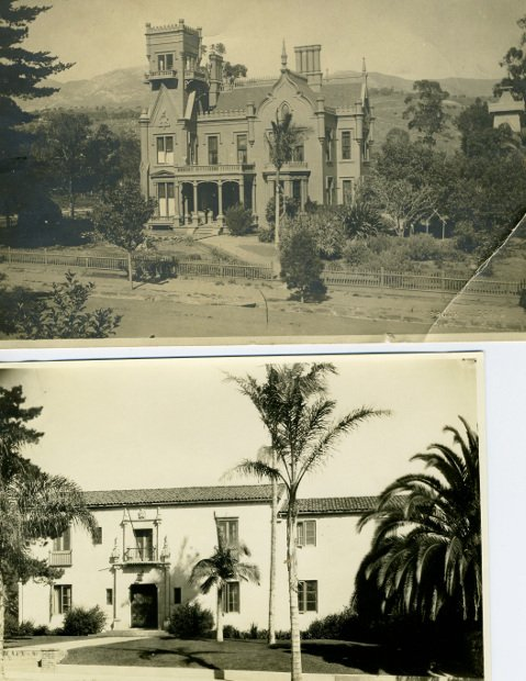 The James W. Calkins house, built around 1878 (top photo), was remodeled to the present-day University Club (lower photo) in 1923.