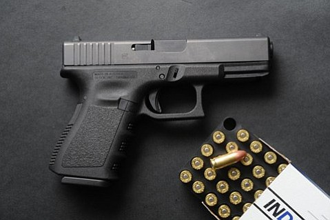 A 9mm Glock 19 with ammunition. While buyback organizers say they're happy to take unwanted ammo, they're not trading gift cards for it.