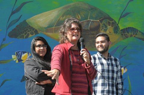 Left to right: Natalia Cardenas, Professor Ann Heferman, and Hector Medina
