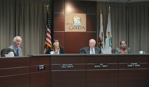 Goleta City Council (L to R) Jim Farr, Paula Perotte, Mayor Michael Bennett, and Roger Aceves interview applicants  for the open seat Councilmember seat made available when Ed Easton resigned.