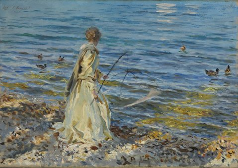 The Clark family's John Singer Sargent oil <em>Girl Fishing at San Vigilio</em> earned $4.3 million at auction.