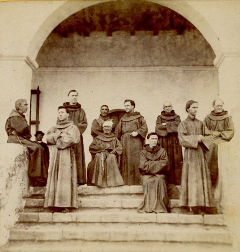 Fr. González Rubio, seated center with white kerchief, ca. 1874, at Mission Santa Barbara.