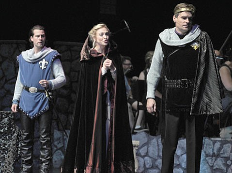 <b>THE KING AND WE:</b> (FROM LEFT) Lancelot (Michael Campayno) and Guenevere (Brandi Burkhardt) have something to tell King Arthur (Robert Sean Leonard).