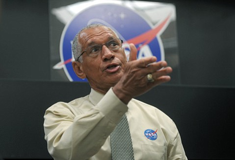 NASA Administrator Charles Bolden toured Goleta's Deployable Space Systems on Tuesday to check out their new solar array