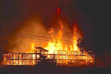 Within 30 minutes of the first sirens heard, the UCSB faculty housing structure almost completely framed out was fully engulfed and destroyed.