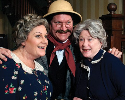 TEA AND HOMICIDE: Leslie Ann Story, Christopher Lee Short, and Linda MacNeal star in the Theatre Group at SBCC's production of<em>Arsenic and Old Lace</em>.
