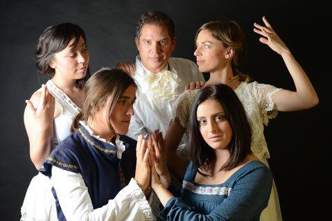 The cast of <i>Orlando</i> (from left to right, top to bottom) Stephanie Farnum, Rob Grayson, Erika Leachman, Tess Plant-Thomas, Morgan Altenhoff.