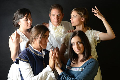 The cast of <i>Orlando</i> (from left to right, top to bottom) Stephanie Farnum, Rob Grayson, Erika Leachman, Tess Plant-Thomas, Morgan Altenhoff.