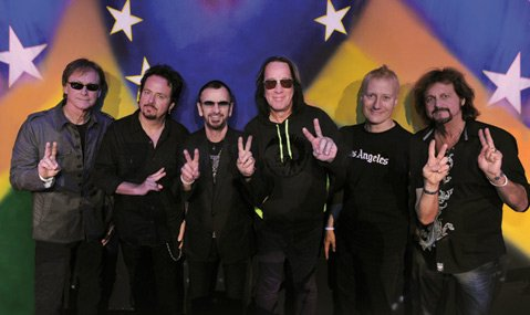 <b>STUDDED:</b>  Ringo Starr's All Starr Band is (from left) Richard Page, Steve Lukather, Starr, Todd Rundgren, Gregg Bissonette, and Gregg Rolie.