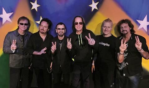 <b>STUDDED:</b>  Ringo Starr's All Starr Band is (from left) Richard Page, Steve Lukather, Starr, Todd Rundgren, Gregg Bissonette, and Gregg Rolie.