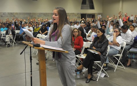 <b>FIRED UP:</b> Hazel Davalos speaks during a recent Santa Maria City Council meeting.