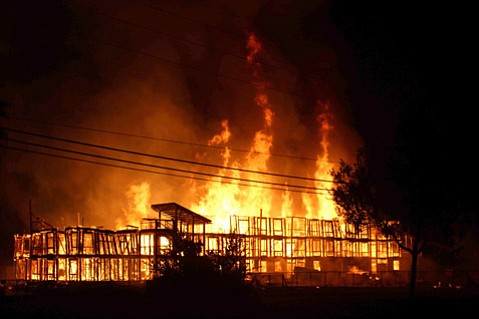 <b>FIREBUG STRIKES?</b>  Three UCSB-owned structures — a trailer, barn, and an unfinished building — were completely destroyed Friday morning in a highly suspicious fire.