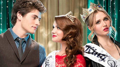 QUEENS FOR A DAY: Amy (Rita Volk, far right) is in love with her best friend Karma (Katie Stevens, center), who has a crush on Liam (Gregg Sulkin, far left) in MTV's <em>Faking It</em>.