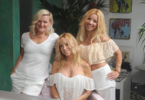 (L to R) TropiCali's Taryn Bazzell (Hair Stylist), Michelle Davis (Owner), and Tammy Renee Garcia (Nail Artist).