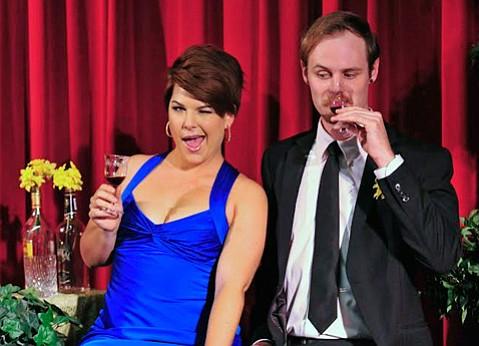 <b>WEDDING CRASHERS:</b>  Marisol Miller-Wave and Josh Jenkins flirt at a wedding reception in <i>Five Women Wearing the Same Dress</i>.