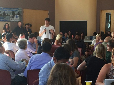 <b>SPITBALLING:</b> Town hall participants took turns proposing ways to give a voice to Isla Vista residents.