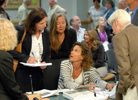 <b>HOT TALK:</b> County planner Kathy Pfeifer (seated) fields questions about the solar project.