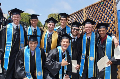 The 2014 Mini Baja team at commencement. Top, from left, Kyle Wollert, Jonathan Campbell, Dean Wink, Spencer Wass, Tucker Root, Matt Dodge, and Ahdi Melkote. Bottom, Terry Davis, left, and Zachary Hockenberry. Not pictured is Tim Phillips.