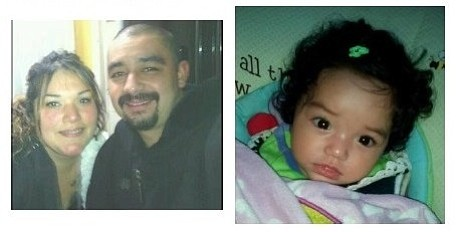 Joshua Ivan Martinez (left, posing with an unknown woman) is accused of kidnapping his six-month-old daughter Nayeli (right) following a domestic dispute