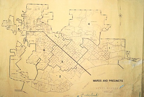 <b>DRAWING LINES: </b> This map shows city voting wards in 1964.