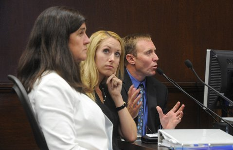 <b>DRIP, DROP:</b>  Explaining the incremental improvement in voluntary water conservation efforts are Public Works chief Rebecca Bjork (left), conservation officer Madeline Ward (middle), and acting water czar Joshua Haggmark.