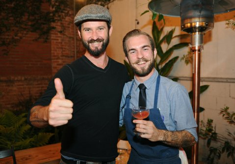 Patrick Reynolds (left) and Indy Farm to Bar Cocktail Contest winner Kyle Peete