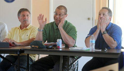 IT WAS THIS BIG:  Michael Jackson of the Bureau of Reclamation only looks like he's talking about the fish he didn't catch, but the meeting this Thursday between Bureau of Reclamation brass and South Coast water agencies drawing water from Lake Cachuma was all about endangered steelhead trout and how 800 were killed accidentally because of faulty pumps maintained by the bureau. To Jackson's left is Chris Dahlstrom, the GM at the water district in Santa Ynez, and to his right is Pablo Arroyave, Jackson's boss with the bureau.