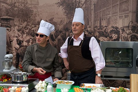 TOO MANY COOKS:  Michaël Youn (left) and Jean Reno play at-odds culinarians in Le Chef.