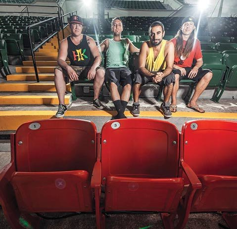 I.V. STRONG:  Rebelution is (from left) Marley D. Williams, Wesley Finley, Eric Rachmany, and Rory Carey.