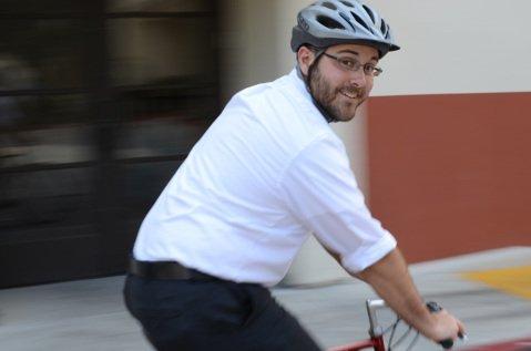 Stephen Nellis rides to work.