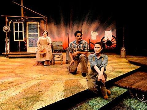<b>COWBOY UP:</b>  PCPA's Oklahoma! stars (from left) Kitty Balay as Aunt Eller, George Walker as Curly, and Jackie Vanderbeck as Laurey.