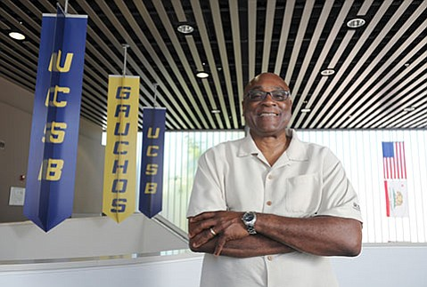 <b>A FRIEND, INDEED:</b>  UCSB's assistant athletics director Larry James ushered athletes through the admissions process, linked them up with housing, monitored their academic progress, and frequently became their most trusted confidant on campus.
