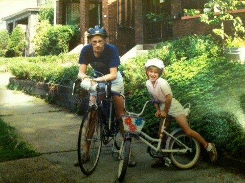 The author and his daughter model their bike helmets many years back.