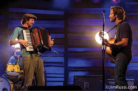 <b>BEST BUDS:</b>  Since meeting as students at UCSB, Zach Gill (left) and Jack Johnson have been musically inseparable. Last month, they played the Waikiki Shell in Honolulu, Hawai'i (pictured). This week, they'll share the stage for two sold-out shows at the Santa Barbara Bowl.