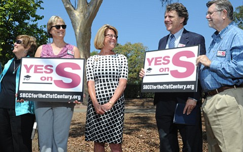 <b>ALL ABOUT THE S: </b> City College President Lori Gaskin (center), flanked by Measure S supporter Lanny Ebenstein (right) and Trustees Peter Haslund (far right) and Lisa Macker (left), rallied for a facilities bond headed to the November ballot.