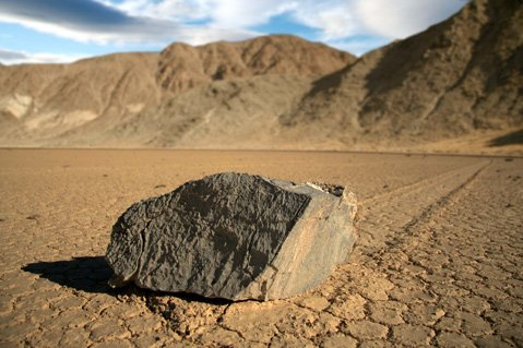 <b>HOW THE HECK?</b>  A sailing stone leaves a trail after it scooted along The Racetrack.