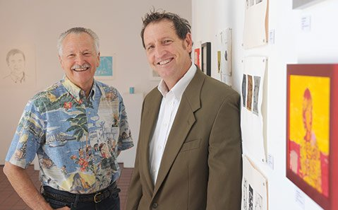 <b>ART CATS:</b>  Westmont professor emeritus Tony Askew (left) and new Arts Fund Executive Director Brad Nack have known each other since Nack took Askew's drawing class at Santa Barbara High School.